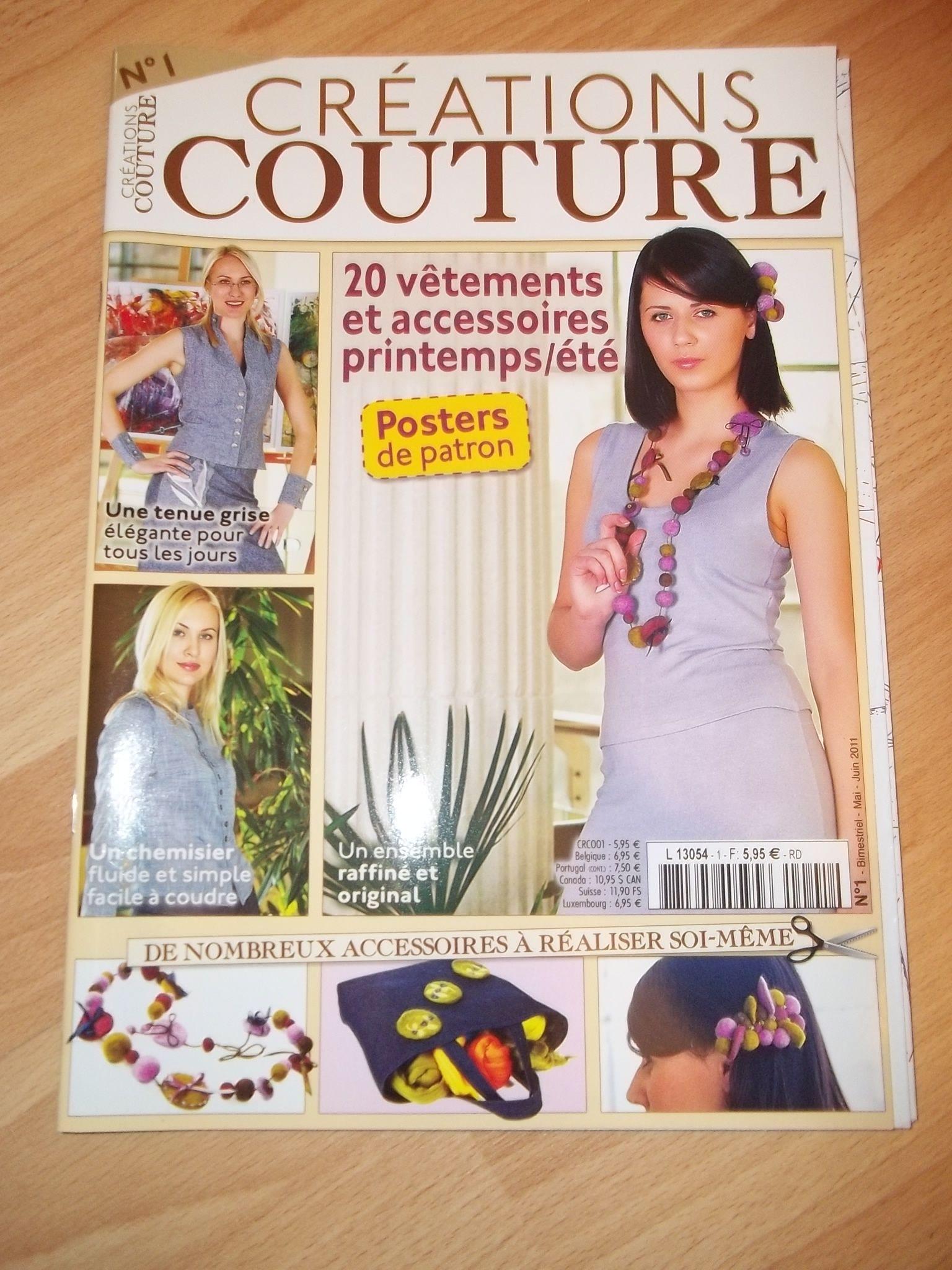 magazines creations couture avec patron 2 euros. Black Bedroom Furniture Sets. Home Design Ideas